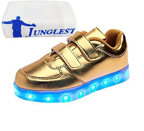 [Present:kleines Handtuch]JUNGLEST® Kinder Jungen M?dchen Bunte LED Leuchtet Sportschuhe Sneakers Athletische S Gold