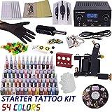 Günstige komplette Tattoo-Kits 1 Tattoo Maschinengewehre Mini-Tattoo Netzteil Tattoo Nadeln Tattoo-Tinten-Pigment
