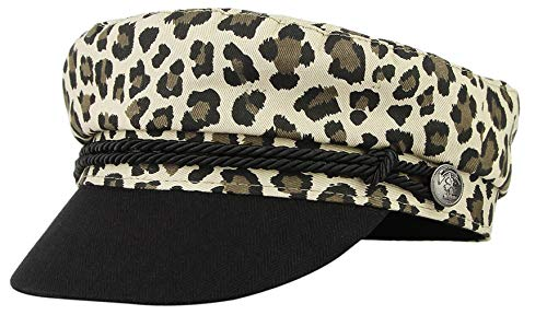 DEMU Damen Kapitänsmütze Schirmmütze Kapitän Hut Klassisch Visor Maler Gatsby Barett Leopard Leopard-visor