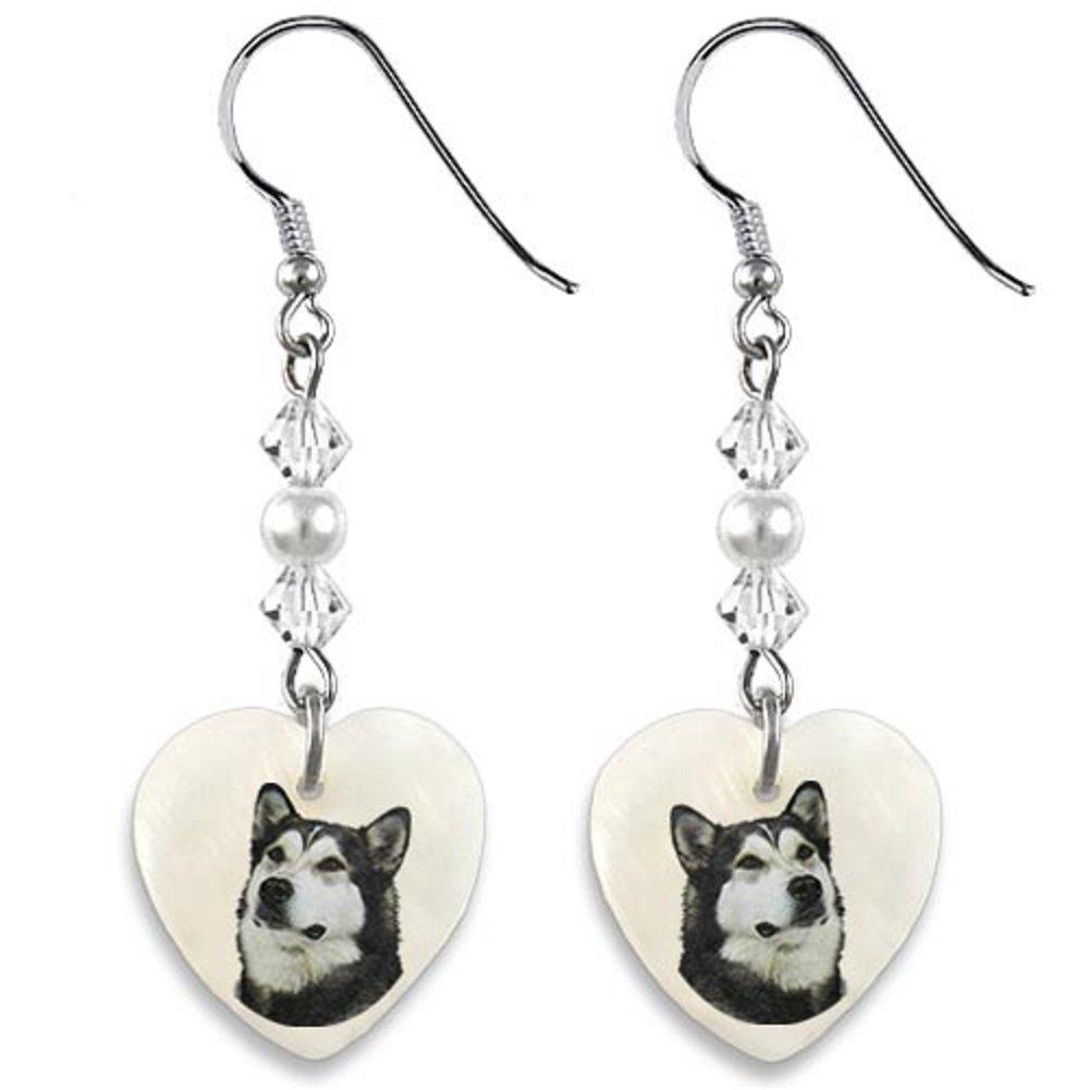 Timest – Alaskan Malamute – Mother of Pearl Heart Earrings EP0079