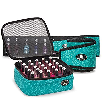 Roo Beauty Nail Polish Varnish Set, Manicure Storage Case, Makeup Cosmetic Holder In Imperial Teal