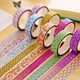 10pcs Sticky papiers Paillettes ruban adhésif coloré ruban de masquage pour le scrapbooking DIY Décoration outils Couleur aléatoire