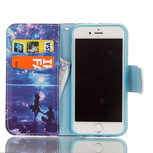 Nancen Apple iphone 6 / 6S (4,7 Zoll) Hülle, Painted Bunt PU Leder Handytasche Bookstyle Flip Case - Praktisches Design mit Magnetverschluss Standfunktion Brieftasche und Karten Slot Hochwertige Walle Paare unter den Sternen