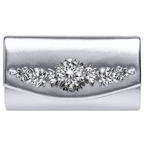 Caspar TA509 Damen Metallic Clutch Tasche mit ausgefallenem Strass Dekor, Farbe:silber, Größe:Einheitsgröße