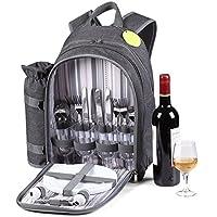 GEEZY 4 Person Picnic Backpack Insulated Hamper Cooler Bag Wine Cool Bottle Holder