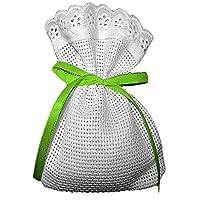 Crociedelizie, Stock 40 sacchetti bomboniere portaconfetti segnaposto in tela aida rifinitura in pizzo sangallo da ricamare a punto croce