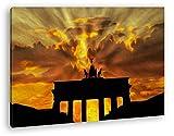 Brandenburger Tor mit Sonnenstrahlen Effekt: Zeichnung im Format: 100x70 als Leinwandbild, Motiv fertig gerahmt auf Echtholzrahmen, Hochwertiger Digitaldruck mit Rahmen, Kein Poster oder Plakat