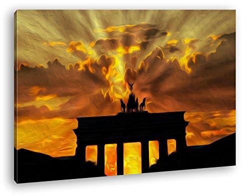 deyoli Brandenburger Tor mit Sonnenstrahlen Effekt: Zeichnung im Format: 80x60 als Leinwandbild, Motiv fertig gerahmt auf Echtholzrahmen, Hochwertiger Digitaldruck mit Rahmen, Kein Poster oder Plakat