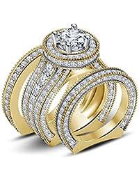 Silvernshine 4ct Diamond 14k Yellow Gold Fn 925 Silver Ladies Engagement Wedding Ring Trio Set