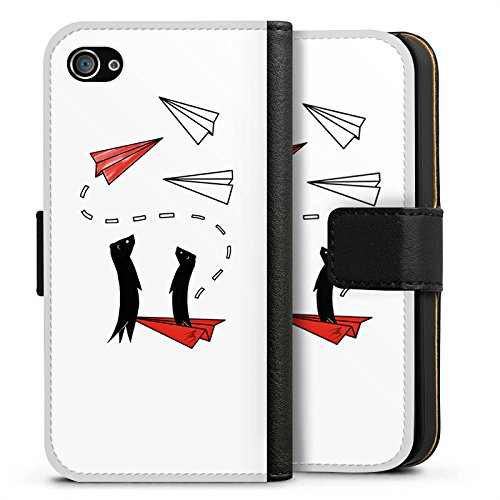Apple iPhone X Silikon Hülle Case Schutzhülle Erdmännchen Tiere Comic Sideflip Tasche schwarz