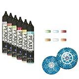 Schjerning 3D Pearl Pen, 6 x 28 ml - Plusterfarbe Pluster Pen Textilmalstifte Textilstifte Stoffmalstifte Malfarben