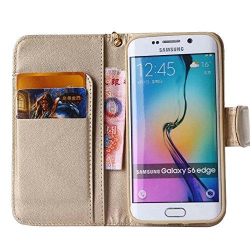 PU Leder Brieftasche Case Hülle für Apple iPhone 5C 5S - Yihya Elegant Muster Blume Kamelie Camellia Flip Wallet Cover Schutzhülle Tasche Retro Handyhülle mit Strap - Lila(Purple) Kamelie - Gold