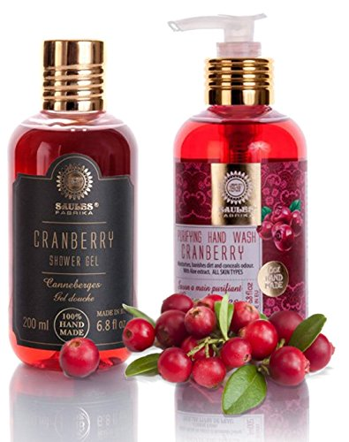 Geschenk Set Parfüm-extrakt (Saules Fabrika Duschgel und Handseife Geschenk-Set 2x200ml Giftbox handgemacht vegan Herren Damen 2teilig (Cranberry))