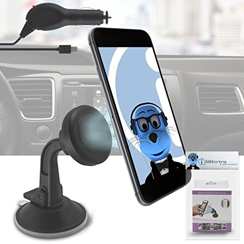 Magnetic Cradle-less Case Compatible Car Mount Holder Windshield Dashboard with MicroUSB In-Car Charger for Nokia Asha 210  available at amazon for Rs.617