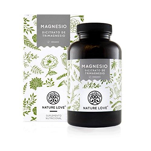 NATURE LOVE® Magnesio - 2250 mg citrato de magnesio, de ello 360 mg magnesio elemental por dosis diaria. 180 cápsulas. Controlado en el laboratorio. Vegano, alta dosis, elaborado en Alemania.