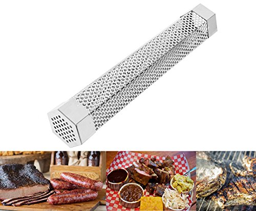 Wisamic 12� Hexagon Stainless Steel BBQ and Pellet Smoker Tube for Cold Smoking and Grilling