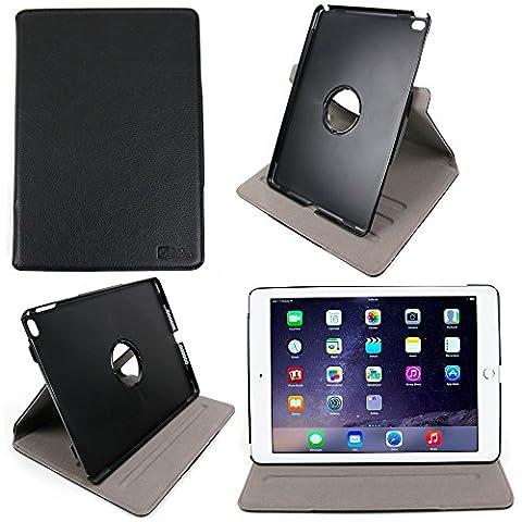 """Housse étui aspect cuir noir rotatif 360° pour Apple IPAD AIR 2 (2eme generation 2014) tablette écran 9,7"""" Retina Wi-Fi + 4G LTE - vue horizontale ET verticale - et chiffon BONUS , par DURAGADGET"""