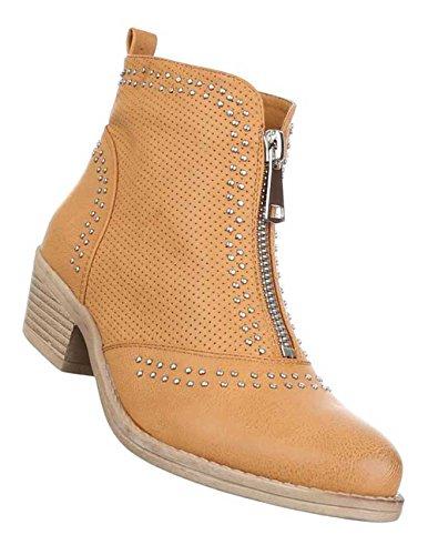 Damen Stiefeletten Schuhe Perforierte Boots Schwarz Camel