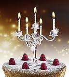 Close Up Kuchenkerzen - Kerzenleuchter - Bling Bling Kerzenständer mit 5 Plätzen - 9 Weiße Kerzen inkl.