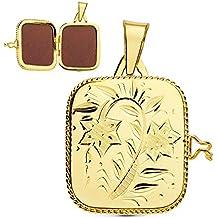 Colgante de mujer Portafotos (guardapelo) Cuadrado Labrado Oro 18 Kilates 21 MM