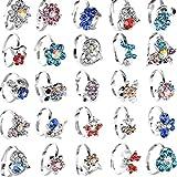 Anelli per bambini per bambine, anelli misti animali dei cartoni animati con cristalli, anelli per feste, 20 pezzi