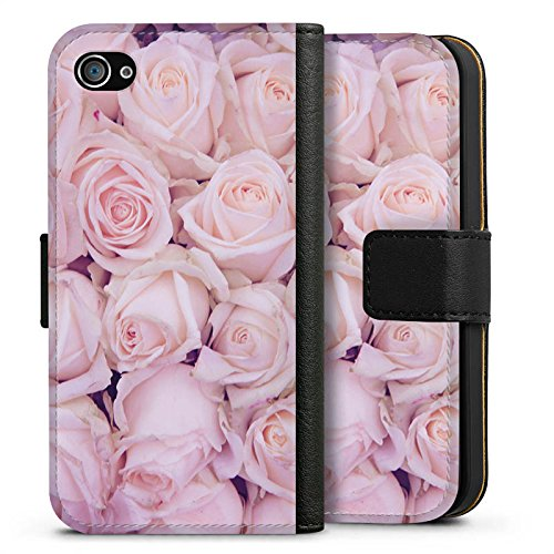 Apple iPhone X Silikon Hülle Case Schutzhülle Rosen Blumen Liebe Sideflip Tasche schwarz