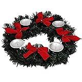 Land-Haus-Shop Adventskranz für Kerzen Advent Weihnachts Kerzen Kranz mit Schleifen Tisch Deko