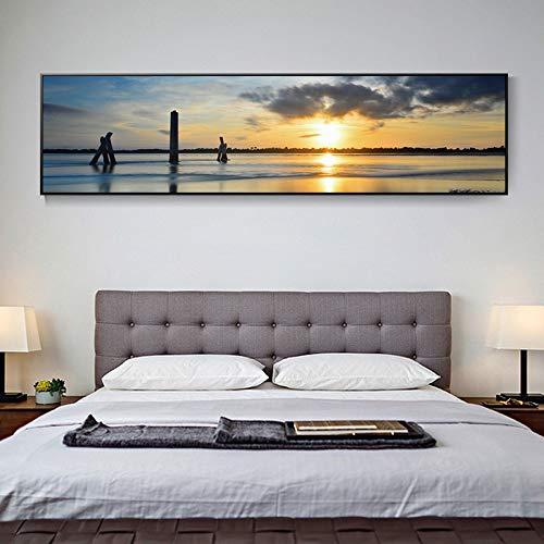 WSNDGWS Pinturas abstractas nórdicas, Puesta de Sol, Sala de Estar, Lienzo Decorativo, Sin Pintura A5 50x180cm
