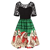 VEMOW Damen Elegantes Cocktailkleid Abendkleid Damen Mode Sleeveless Christmas Cats Musical Notes Print Beiläufig Täglich Vintage Flare Dress(X1-Grün, EU-40/CN-L)
