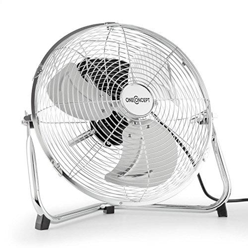 oneConcept Metal Blizzard Windmaschine 35cm Metall-Ventilator Retro Stand-Ventilator in Chrom (Tischventilator, Bodenventilator, Rotorblätter aus Edelstahl, leise 55W, Rotorkorb neigbar, Verchromt, stabiles Schutzgitter, 3 Geschwindigkeiten, inkl. Tragegriff) silber