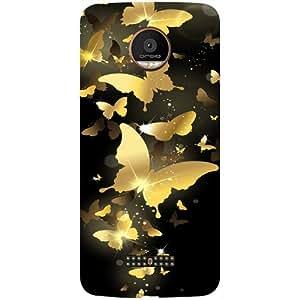 Casotec Golden Butterfly Pattern Design 3D Printed Hard Back Case Cover for Motorola Moto Z Force