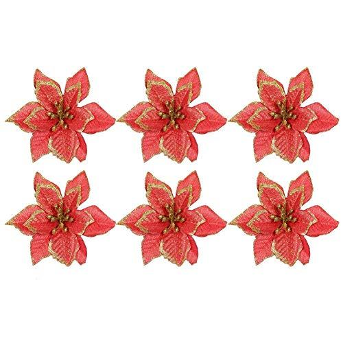 6 stücke Glitter Künstliche Blumen Ornamente Dekorationen für Weihnachtsbaum Kränze Party Hochzeit Gefälschte Laub Pflanze Für Zuhause Küche Garten Festival Decor Ornament
