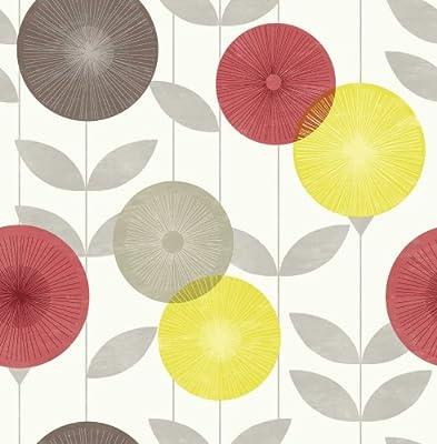 Monroe Sun Floral Linear Leaf Print Luxury Wallpaper