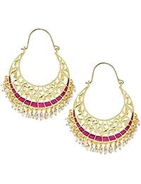 The Jewelbox Filigree Chaand Bali Gold Plated Pink Meenakari Hoop Earring For Women Rakhi Raksha Bandhan Gift