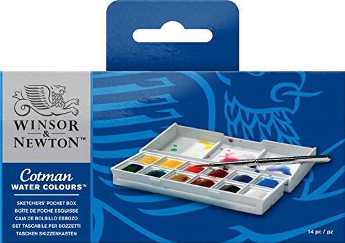 Winsor & Newton Sketcher Cotman Caja plástica de acuarela, 12 medio Godet