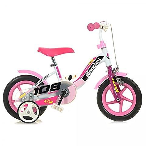 Velò Enfant Fille Frein Avant Dino Bikes 10 Pouces Stabilisateurs Blanc Rose
