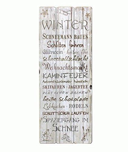 Cepewa 50751 Shabby Chic Wandbild Wandschild Schild Bild Winter Landhaus Vintage Holz 80 x 30 cm