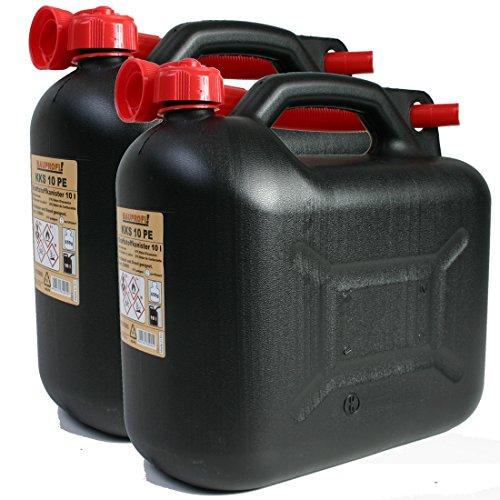 2er Set: 2x Benzinkanister 10 Liter schwarz KKS 10 PE Reservekanister
