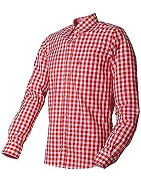 ALMSACH Trachtenhemd Hermann - Herren Hemd in rotem Karo in Basic-Passform - Größe XL