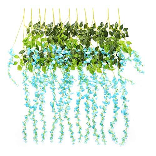Künstliche Glyzinie Seidenblumen-Ranke Blumendekoration Zum Selber Aufhängen Fgarten Wohnzimmer, Für Party Home Dekoration Hochzeiten (12 PCS),C