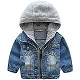 ARAUS Kinderkleidung Frühlingsmodelle Jungen Kinder weiche gewaschen Kapuze Jeansjacke Jeansbekleidung mit reißversluss 110
