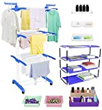 Jumbo Cloth Drying Stand Combo with Shoe Rack, 2 Organisers, 2 Fridge Organisers, 2 soap Stands and 1 Shelf