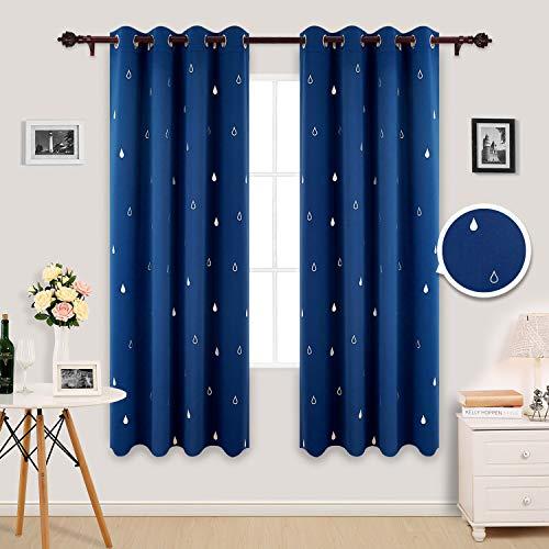 Deconovo tende oscuranti termoisolanti con stampa goccia d'acqua per camera da letto con occhielli 117x183cm blu 2 pannelli