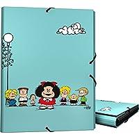 Grafoplás 82401947-Carpeta 3 solapas tamaño folio y cierre con goma elástica, Diseño Mafalda Amigos