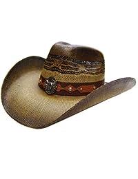 Modestone Unisex Straw Sombrero Vaquero Metal Bull Skull Concho Studs Brown 7158cf424f8