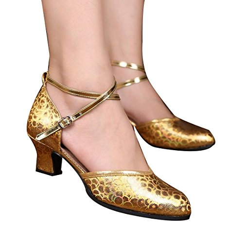 Frauen PU Die Ferse Weicher Boden Das Muster Ballsaal Tanzschuhe Gold
