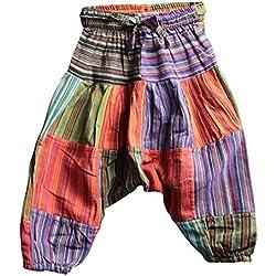 Shopoholic Moda Infantil Hippie Harén Holgado Boho Pantalón Hippy Coloridos Infantil Retro Cómodo Pantalón multicolor Patch Medium