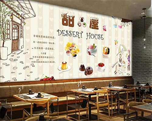 Beauté créative Simple Papier Peint Dessert européen et américain Peint à la Main Boutique de Desserts gastronomiques Fond 3D Papier Peint Mural-280x200cm