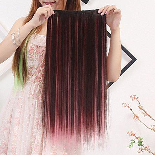 Elecenty Perücke Sexy Frauen Haarteil Farbverlauf Lange Gerade Kunsthaar Voll Perücken Natürlich Aussehende Doppel Farben (1 PC, B) -