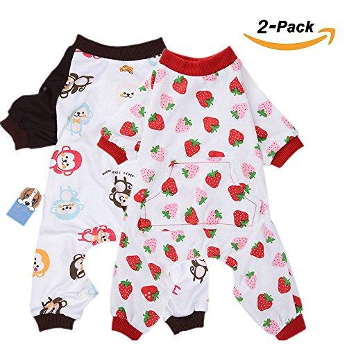 2er Pack Hund Kleidung Hunde Katzen Einteiler weich Hund Schlafanzug Baumwolle Puppy Strampelanzug Pet Jumpsuits Cozy Bodys für kleine Hunde und Katzen von ()